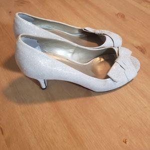 Sparkly silver kitten heal open toe heels